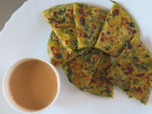 Paneer Cheese Methi Paratha Served