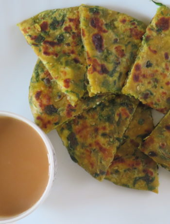 Paneer Cheese Methi Paratha Served