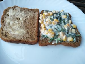 Corn Spinach filling on bread