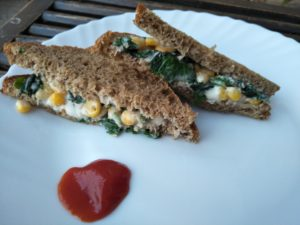 Corn Spinach Sandwich