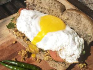 Chicken Kheema Sandwich with the yolk running out