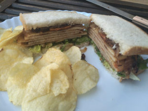 Chicken Salami Sandwich Served with Chips