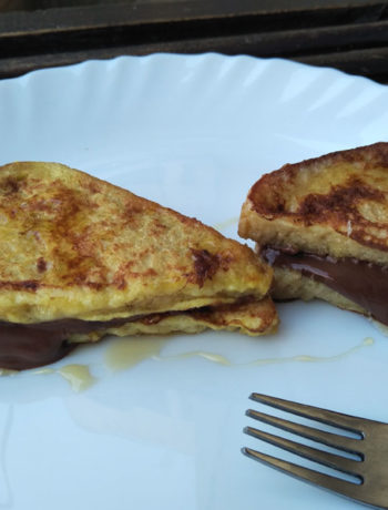 Oozing Chocolate French Toast Nutella Sandwich Served