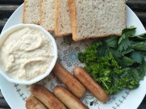Hummus Chicken Sausage Sandwich Prep