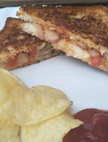 Onion Tomato Chilli Sandwich served with Ketchup and Chips