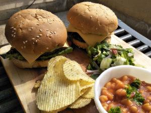 Vegetarian Burger Meal Served