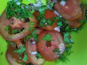Veggies for the tandoori aloo sandwich
