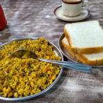 Egg Bhurjee with Bread Slice and Tea