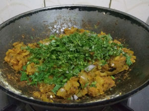 Fresh Coriander Added to Zunka