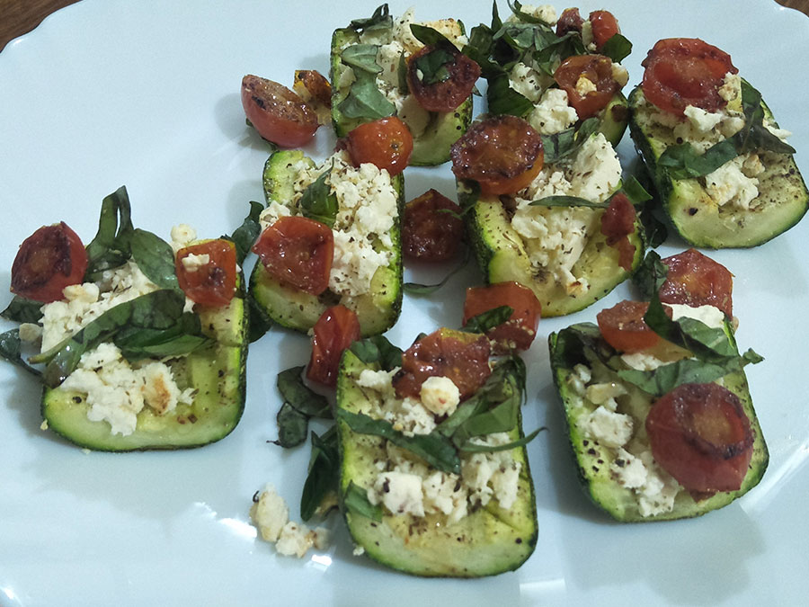 Zucchini Boats with Feta and Cherry Tomatoes